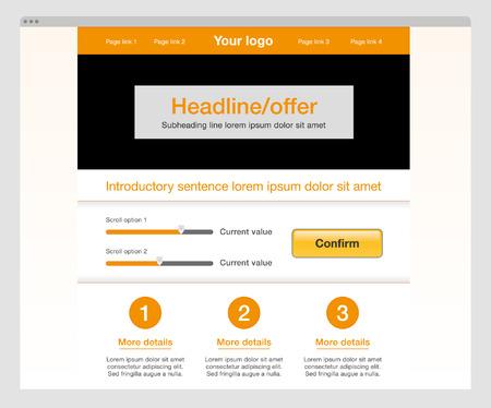 Orange modern website template.  Ilustração