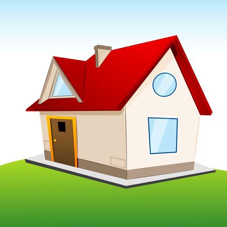 illustration of house on grassland Stock Vector - 8778174