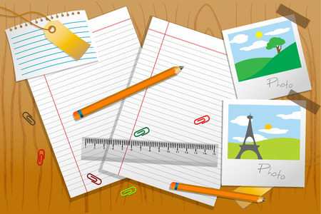 illustration of photo with stationary and paper on table Vector