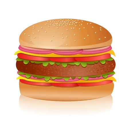 sandwich white background: illustration of burger on an isolated background