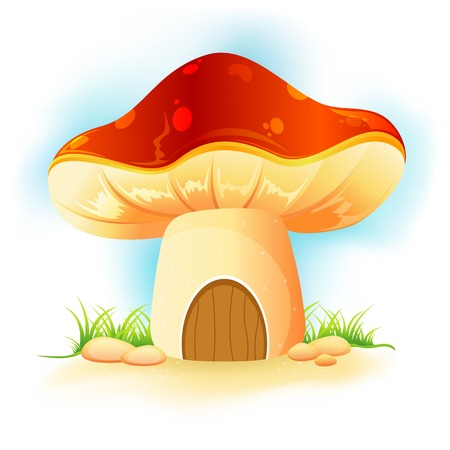 illustration of fantasy mushroom home in garden Vector
