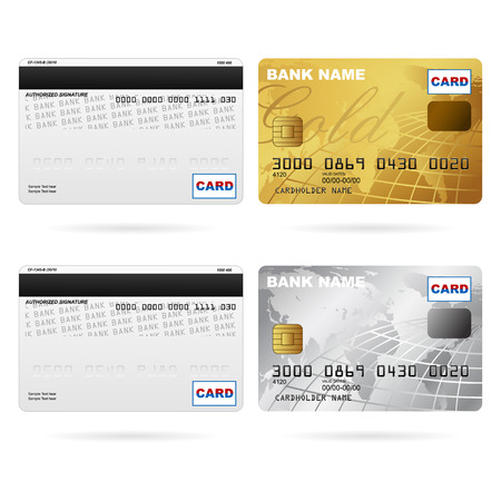 debit card: illustration of front and back of credit cards