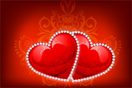 Heart Decorated with Diamonds Stock Vector - 8778241