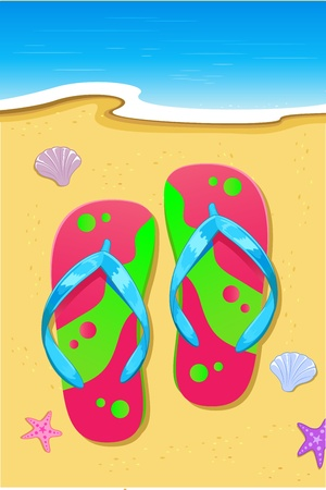 Slipper on Beach Vector