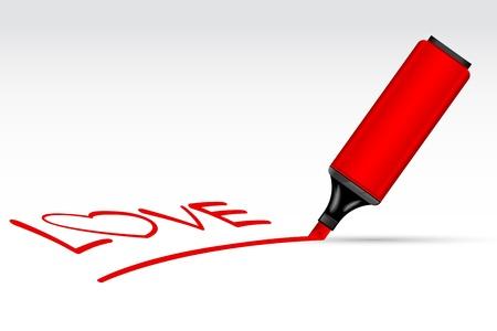 Highlighter Pen writting Love Stock Vector - 8778190