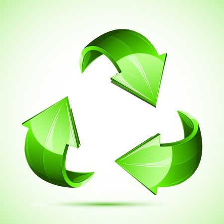 illustration of recycle symbol on isolated white background Vector