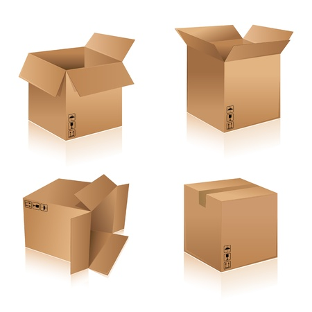 corrugated cardboard: illustration of different shape cardboard boxes on isolated background Illustration