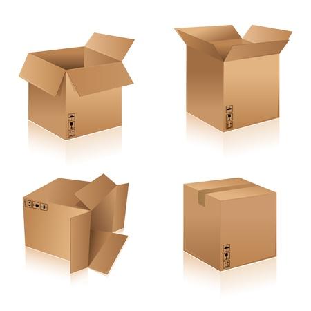 Ilustracja pudełkach kartonowych różnego kształtu na tle izolowane