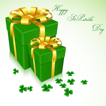 illustration of gift boxes for Saint Patrick's Day with clove leaves Stock Vector - 8778280