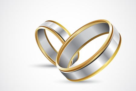 wedding bands: illustration of pair of engagement rings on abstract background