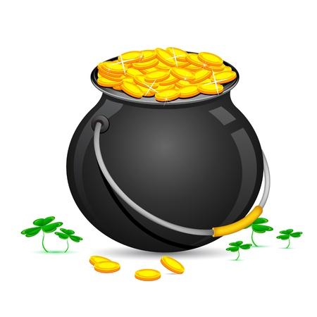zauberhaft: Illustration von Gold Coin Pot of Saint Patrick Day Clover Bl�tter