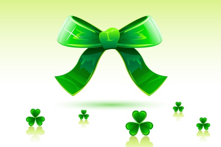 illustration of green bow with clover leaf of saint patricks day Vector