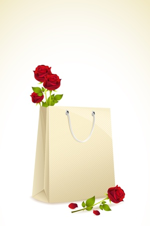 mart: illustration of roses in shopping bag on isolated background Illustration