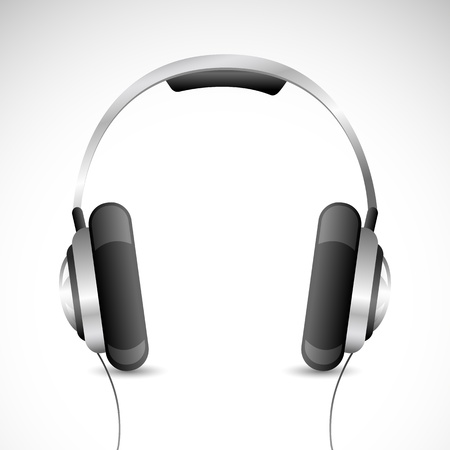 headset voice: illustration of headphone kept on isolated background Illustration