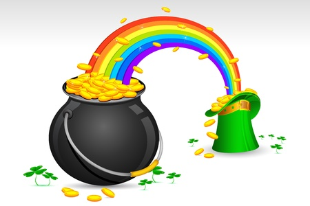 green and gold: illustration of Saint Patricks hat and pot filled with gold coins