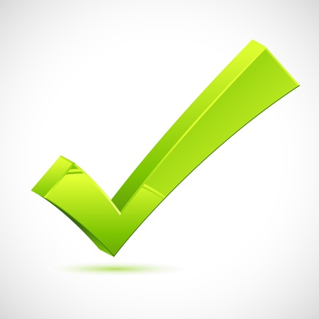 confirmed: illustration of green checkmark on isolated background