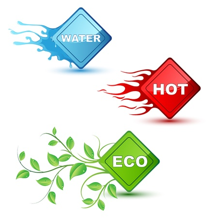 colourful fire: illustration of different element like water fira and eco on isolated background Illustration
