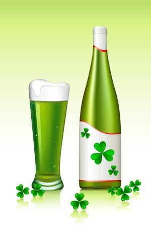 Illustration de la bière verte avec feuille de trèfle, de la fête de la saint patrick