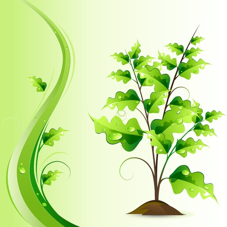 illustration of growing green tree on abstract background Stock Illustration - 8918898