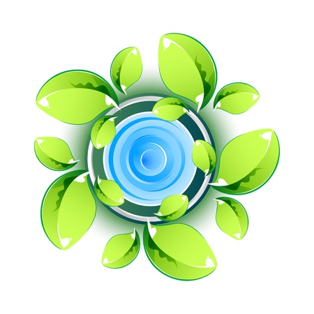 illustration of green leaves showing eco symbol on isolated background Vector