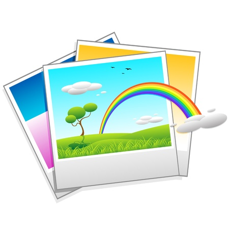 illustration of polaroid photo of landscape on isolated background Vector