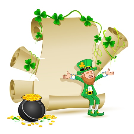 lucky day: illustration of Leprechaun sitting onscroll paper with Gold Coin Pot of saint patricks day