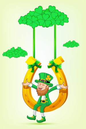 illustration of Leprechaun sitting on horse shoe swing tied with clover leaf cloud of saint patricks day
