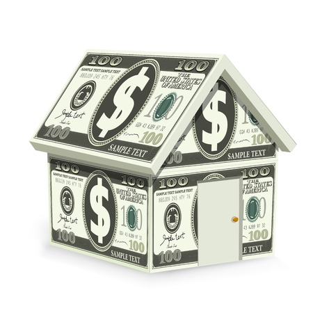 illustration of home made of dollar bill on isolated background Stock Illustration - 8919408