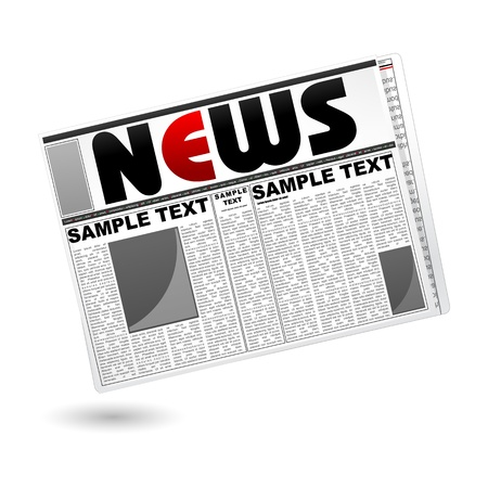 illustration of news paper on isolated white background Stock Illustration - 8919298