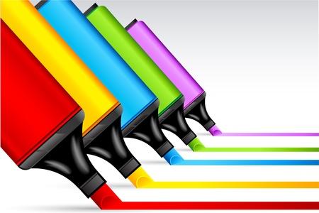 highlighter: illustration of colorful highlighter pen making line on isolated background Illustration