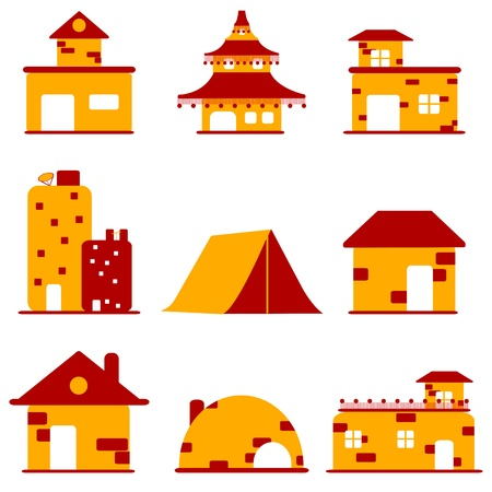 illustration of set of different buildings on isolated background Stock Vector - 8919546