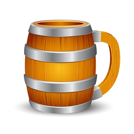 illustration of wooden beer mug on isolated background Stock Vector - 8919704