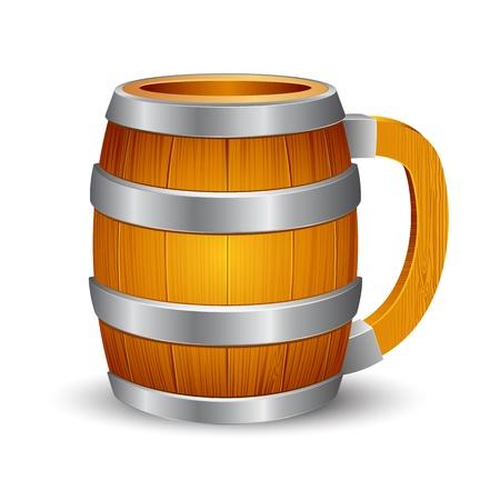 wood barrel: illustration of wooden beer mug on isolated background