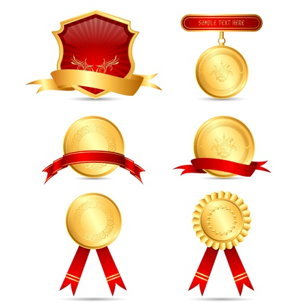 certificates: illustration of medals on isolated white background Stock Photo