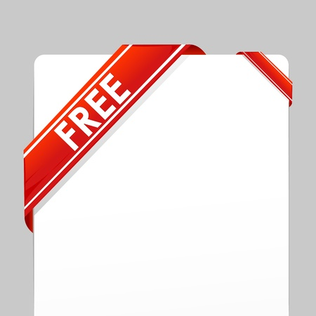 free backgrounds: illustration of card wrapped with free tag ribbon on isolated background