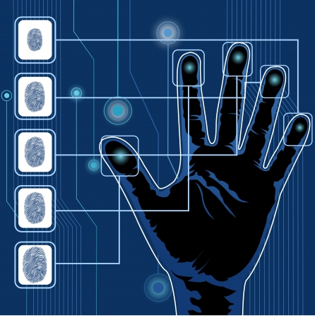 identity protection: illustration of finger print testing with hand scanning Illustration