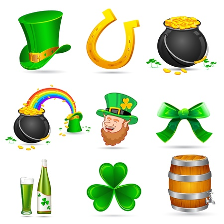 illustration of Saint Patricks day elements on white background Vector