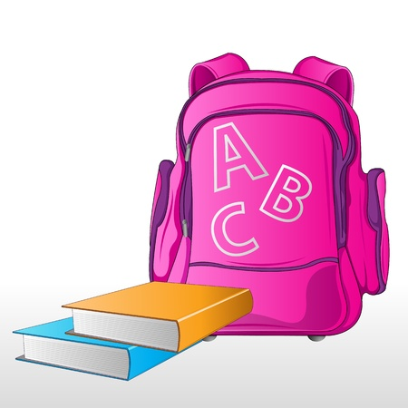 illustration of school bag with books on abstract background Stock Vector - 8920093