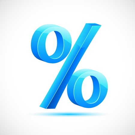 percentage sign: illustration of glossy percentage sign on abstract background