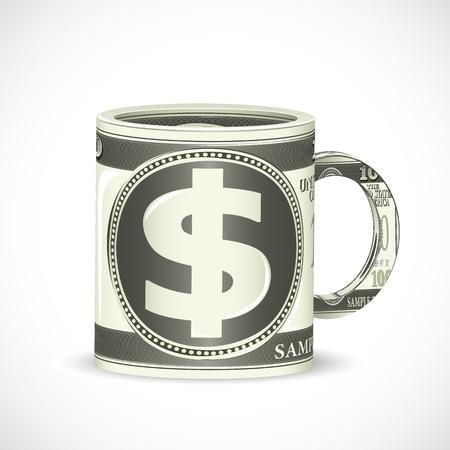 illustration of dollar coffee mug on abstract background Stock Illustration - 8920205