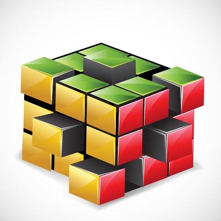 cubo: Ilustraci�n de la explosi�n rompecabezas de cubo de Rubik sobre fondo abstracto