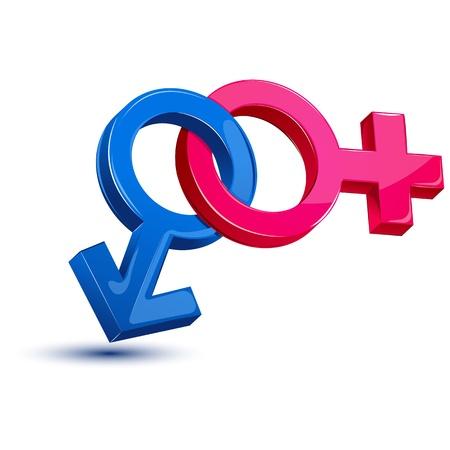 illustration of male and female sex symbol on isolated white background Stock Photo - 8920237