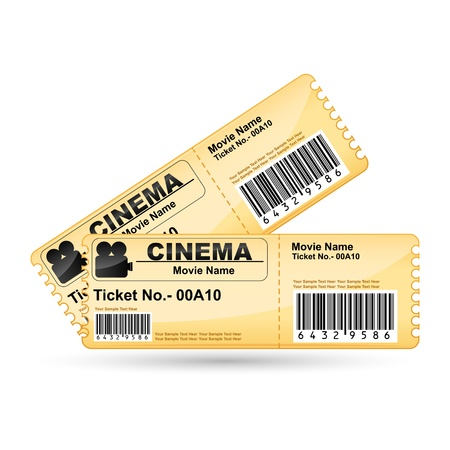theater seats: illustration of movie ticket on isolated white background