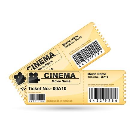 cinema old: illustrazione di biglietto di film su sfondo bianco isolato