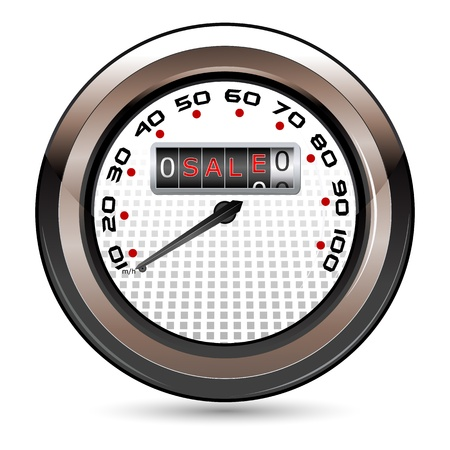 illustration of speedometer showing sale on isolated white background Vector