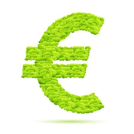 illustration of grass euro symbol on isolated white background Stock Illustration - 8920482