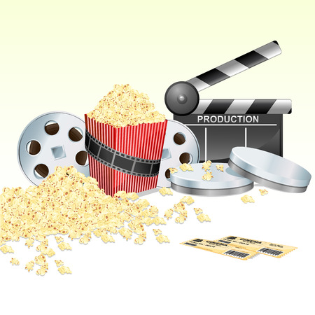 clap: illustration of clapper board with movie reel ticket and pop corn on isolated white background