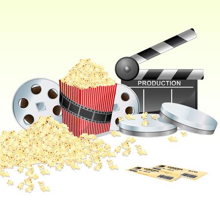 board of director: illustrazione del board batacchio con film reel biglietto e pop corn su sfondo bianco isolato