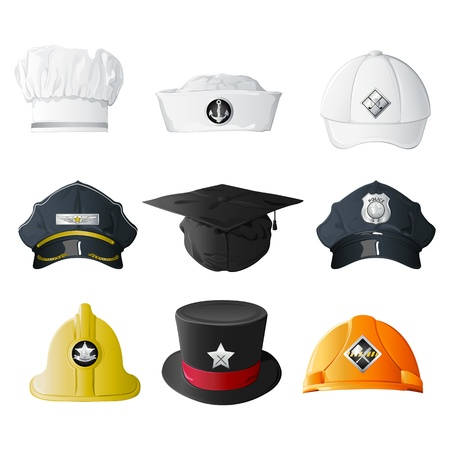 chef uniform: illustration of set of hat from different professions on isolated background