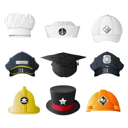 diferentes profesiones: Ilustraci�n del conjunto de sombrero de diferentes profesiones en fondo aislado